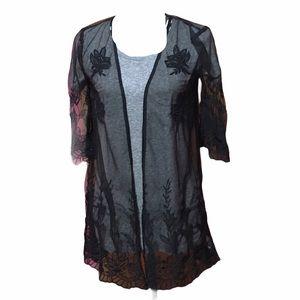 Maurice's Black Mesh Embroidered Kimono